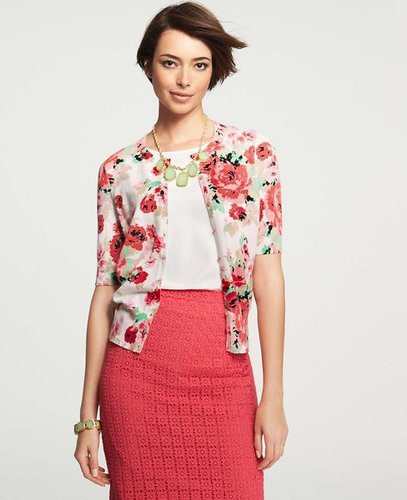 Floral Print Crew Neck Short Sleeve Cardigan
