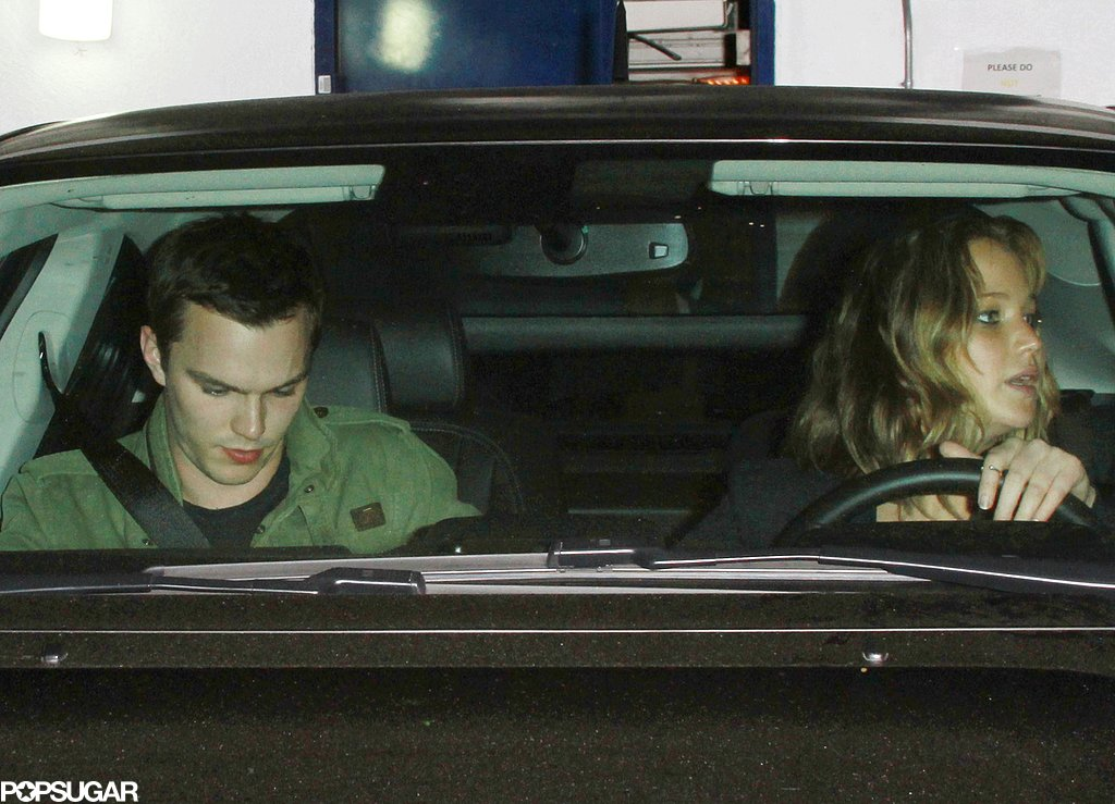 Nicholas Hoult and Jennifer Lawrence got into her car.