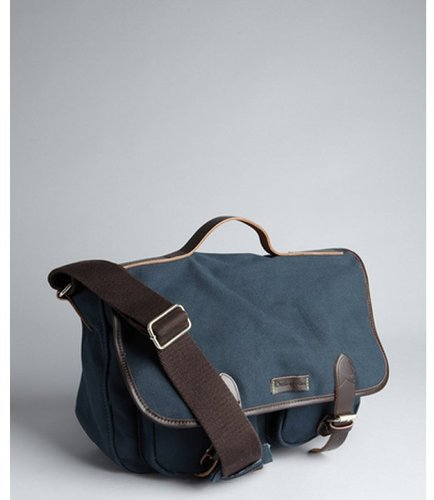 Ossington navy canvas 'Greene' leather trim messenger bag
