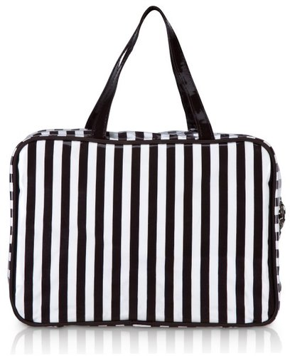 Brown & White Stripe Large Hanging Weekender Bag