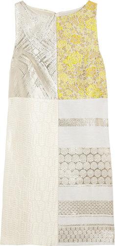 Giambattista Valli Metallic patchwork jacquard and matelassé shift dress
