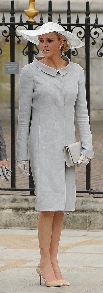 Charlene Wittstock, Princess of Monaco, chose a large wide-brimmed white hat for the royal wedding in April 2011.