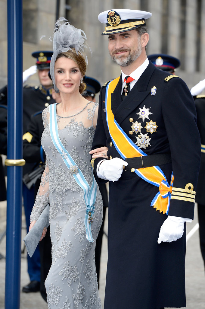 Princess Letizia of Spain wore a gray feathered hat to the inauguration of King Willem Alexander in April.