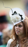 Two white roses accented Princess Beatrice's hat at day one of Royal Ascot 2009.