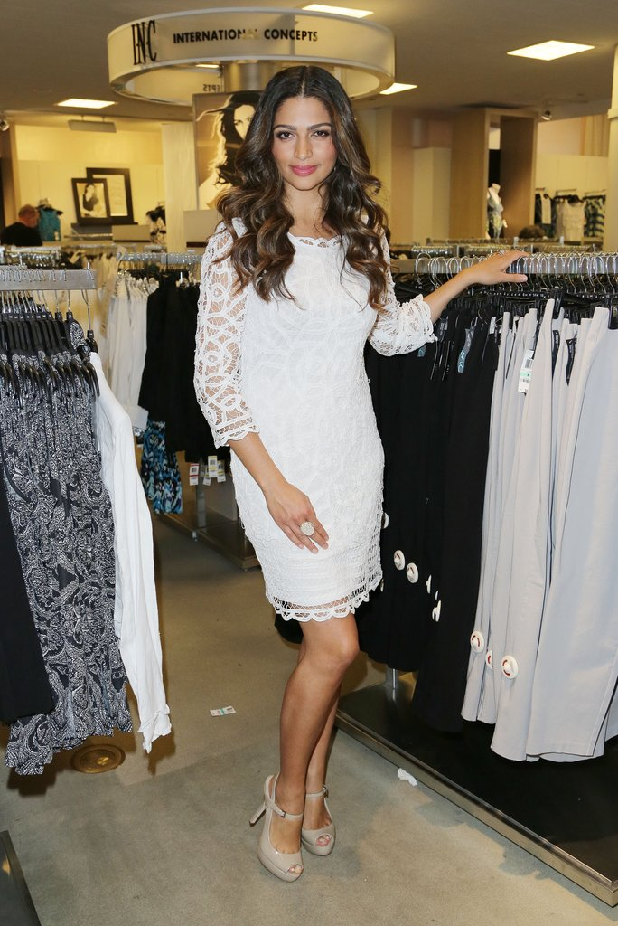 Camila Alves was all elegance in a white lace dress and nude patent peep-toes at a Macy's appearance in Miami.