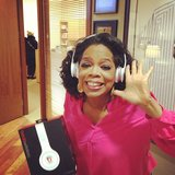 Oprah shared a photo while discovering Beats wireless headphones. Source: Instagram user oprah