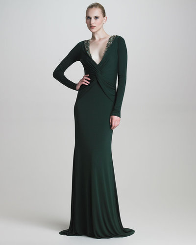 Badgley Mischka Long-Sleeve Jersey Gown