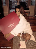Eva Longoria posed with a giant Salvatore Ferragamo box. Source: Eva Longoria on WhoSay