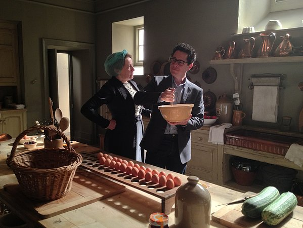 In a weird pop-culture collision, J.J. Abrams found himself on the set of Downton Abbey. Source: Twitter user bad_robot