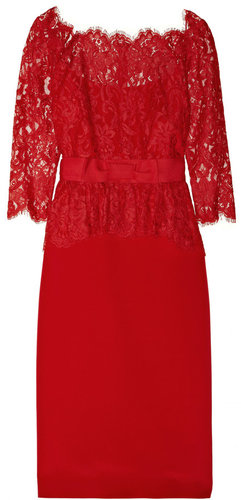 Notte by Marchesa Lace and silk-sateen peplum dress