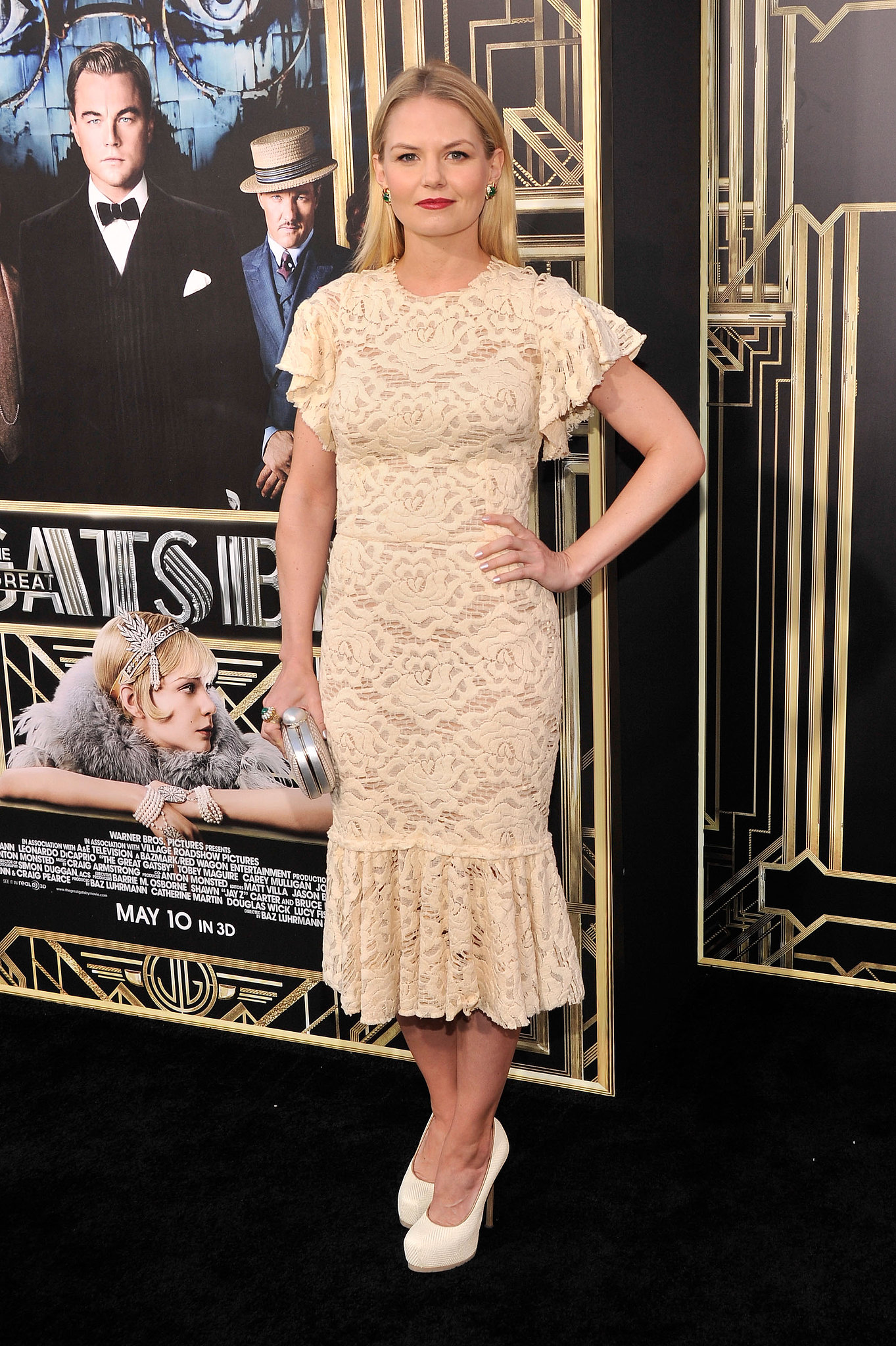 Jennifer Morrison donned a fitted off-white lace Dolce & Gabbana dress paired with Hous