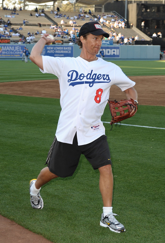 Matthew McConaughey practiced his first pitch at the LA Dodgers game in May 2009.