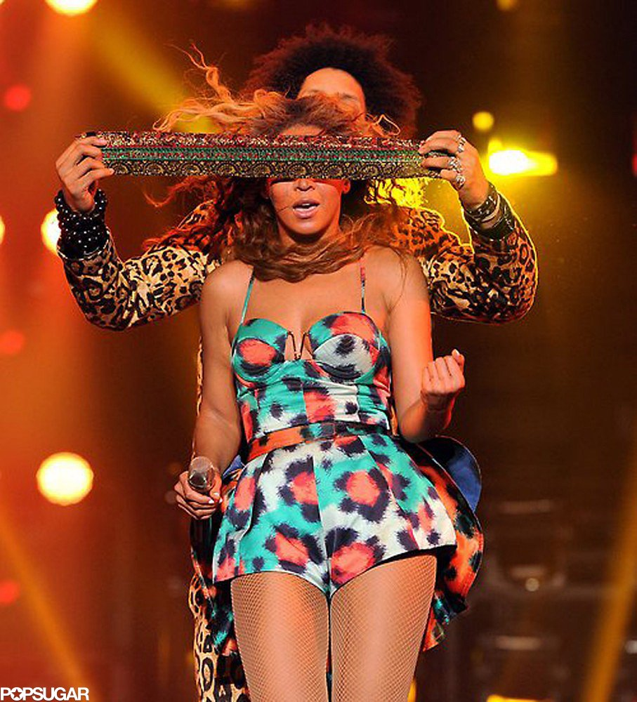 Beyoncé got frisky in a colorful animal-print bustier Kenzo ensemble.