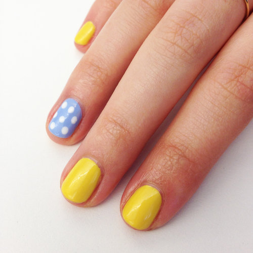 Yellow-and-Blue Nail Art
