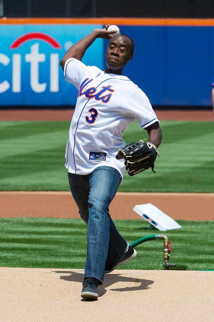 In April, Don Cheadle threw the premiere pitch at the New York Mets game.