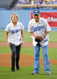 In May, Julianne Hough helped her relative with the first pitch at an LA Dodgers game.