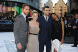 Chris Pine, Alice Eve, Zachary Quinto and Zoe Saldana cuddled up at the UK premiere of Star Trek Into Darkness.