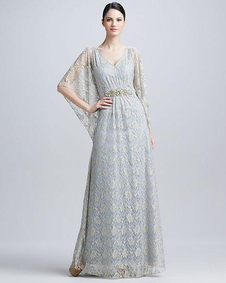 A beaded caftan gown is such a glamorous, statement-making option. This Badgley Mischka lace caftan gown ($595) with a cinched waist is a nice balance to sweeping, dramatic sleeves. Consider this style as an option for a destination wedding.