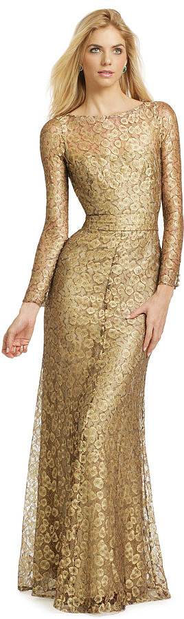 For full coverage, try this Issa gold cassia gown ($285) that hugs your body and ends with an A-line skirt. It's perfect for a black-tie dress code, and you'll cover plenty of skin while creating a flattering silhouette.