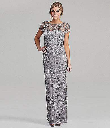 An allover floral pattern in sultry silver sequins is a chic choice, and the cap sleeves on this Aidan Mattox gown ($440) are perfect for showing off toned arms.
