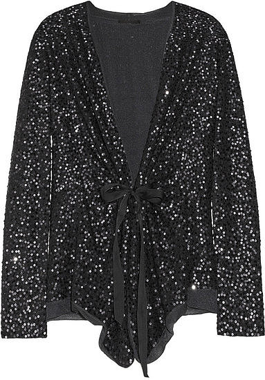 One way to keep warm is to wrap this Donna Karan sequined cashmere and silk-blend cardigan ($2,295) with beautiful sequin details. You'll get the comfort of your favorite sweater without sacrificing glamour.