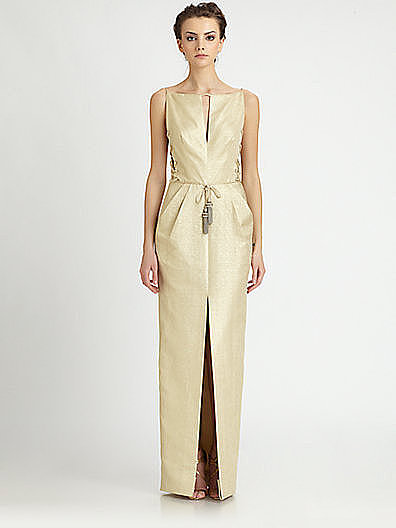 The sexy lace-up sides are not for the modest type but for a truly modern look, try this sleek and daring Badgley Mischka option ($990). This would work perfectly for a metropolitan setting like a rooftop wedding.