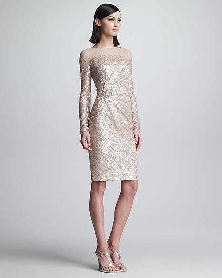 The subdued sparkles and tea length of this David Meister sequined, long-sleeved dress ($560) are perfect for a cocktail dress code. Topped with an illusion neckline and a gathered beaded accent at the waist, it's eye-catching and sophisticated.