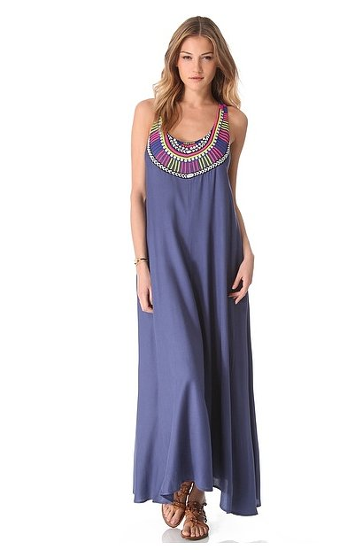 The gorgeous embroidery at the neckline means you won't need to add any jewels to this Mara hoffman Electric Casino beaded cover-up maxi dress ($363).