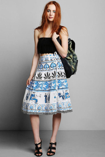 We love the vintage feel of this printed wrap skirt ($119). Throw on a white tee and bright sandals for afternoon drinks.