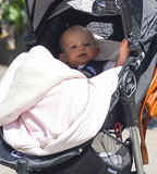 Dixie Followill played in her stroller.