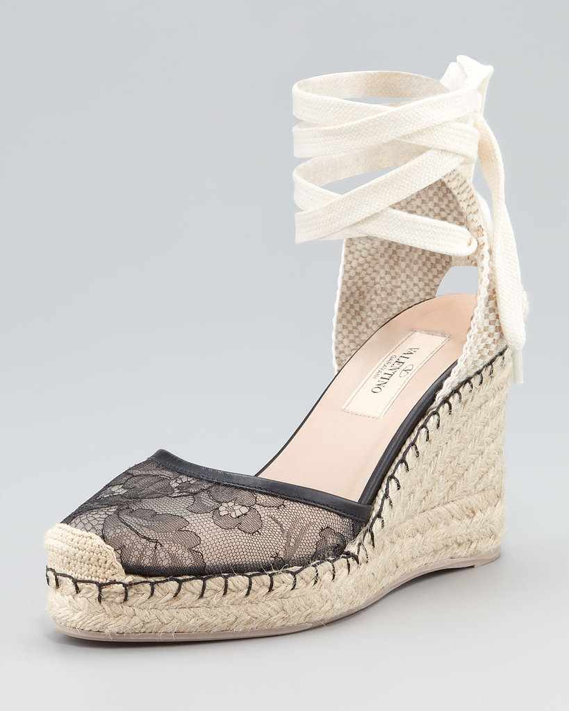 We love the ballerina wraparound detail on this elegant Valentino lace wedge espadrille ($495).