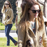 Natalie Portman bundled up in a shawl-collar cardigan, lace-up boots, and a pair of classic shades from Westward Leaning ($180) during a family park day in Pasadena, CA.