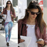 Alessanda Ambrosio styled printed denim with a leather topper and Westward Leaning shades in LA's Brentwood neighborhood.