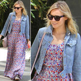 Kristen Bell paired her floral maxi and cropped denim topper with these Westward Leaning sunglasses ($195) and a blush leather crossbody in North Hollywood.
