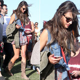 Alessanda Ambrosio accessorized her Coachella style with riding boots, a fringed crossbody bag, and these Louisiana Purchase ($165) Westward Leaning sunglasses.