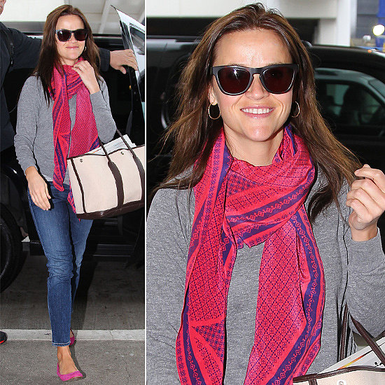 Reese Witherspoon arrived at LAX working a pink printed scarf, coordinating flats, and these Louisiana Purchase ($165) sunglasses by Westward Leaning.