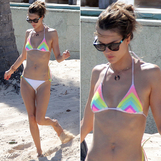 While vacationing in St. Barts, Alessandra Ambrosio showed off her fit figure in a rainbow bikini and this Sleeping Beauty  ($195) style from Westward Leaning.