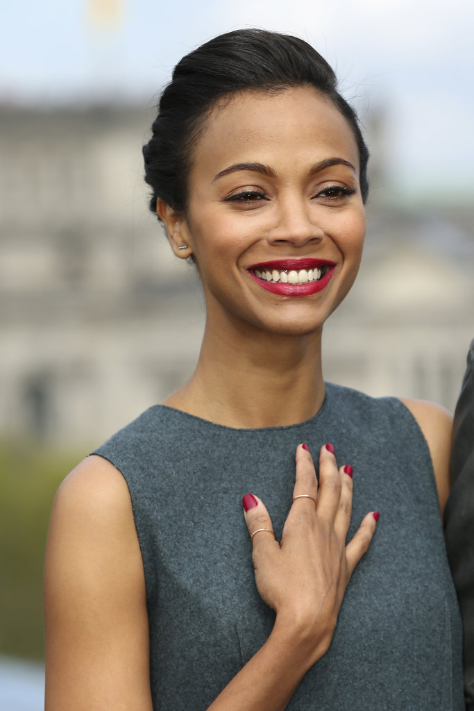 This week, our readers selected this matching red lip and manicure combo on Zoe Saldana as their favorite celebrity manicure.