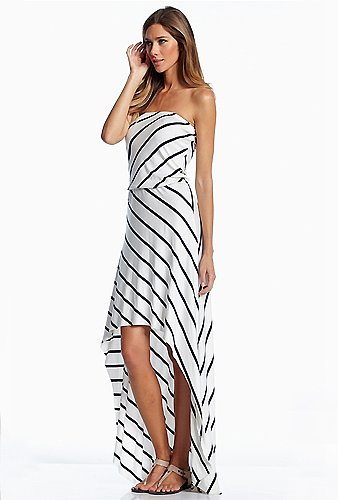 Elan International Strapless Hi-Lo Maxi Dress in White/Blue