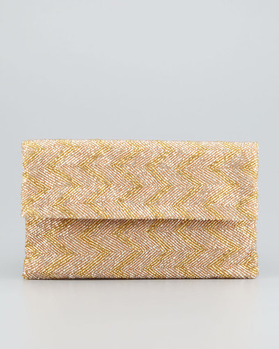 Moyna Chevron Beaded Flap-Top Clutch Bag, Taupe/Gold
