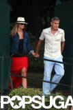 George Clooney held girlfriend Stacy Keibler's hand in June 2012 while at Lake Como.