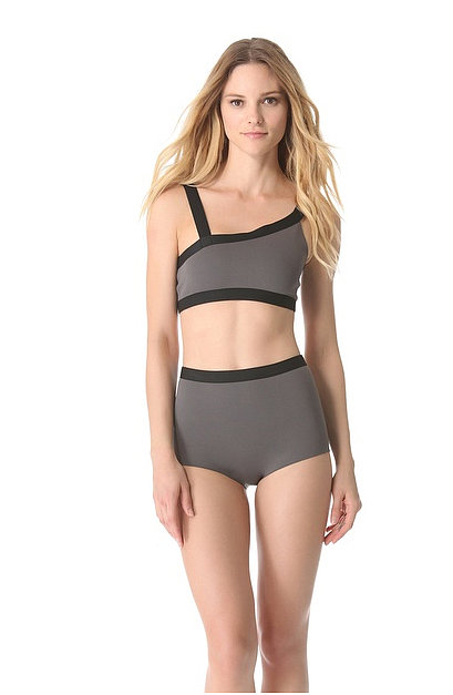 This asymmetrical two-toned VPL Neoprene Bikini ($125) has two traditional straps over the shoulders and two across the back.