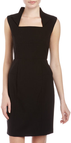 Marc New York by Andrew Marc Envelope-Collar Sheath Dress, Black