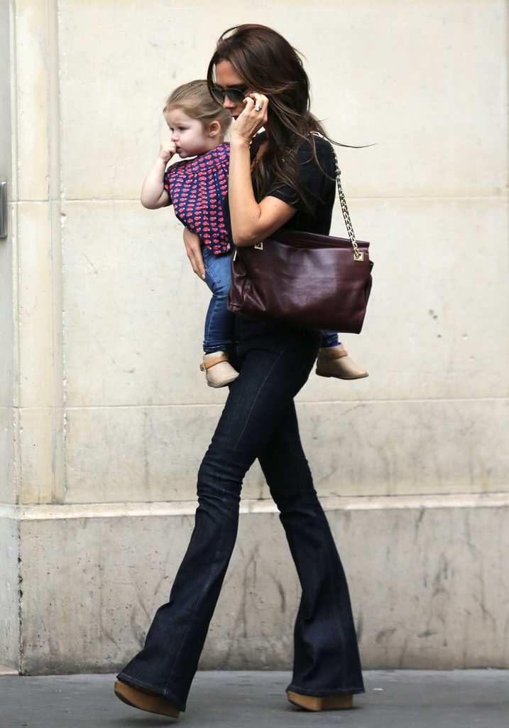 Victoria and Harper Beckham walked through Paris together on Saturday.
