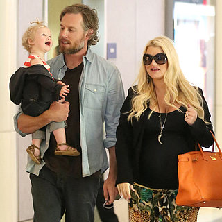 Pregnant Jessica Simpson Landing at LAX