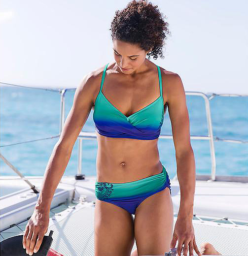 The top of the Athleta Twistini Bikini ($62) fits just like an underwire bra. Beyond fitting your cup size, there are two hook-and-eye closures to secure the top in place. Just for good measure, there are also two cross-back adjustable straps for when you're running around.