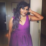 Mindy Kaling gave a pretty purple smile on her way out to the Met Gala.  Source: Instagram user mindykaling