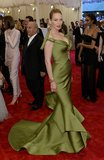 Uma Thurman passed on punk: her green mermaid-style Zac Posen gown, with dramatic bow sleeves and a tiered skirt, was more Old Hollywood than East Village.