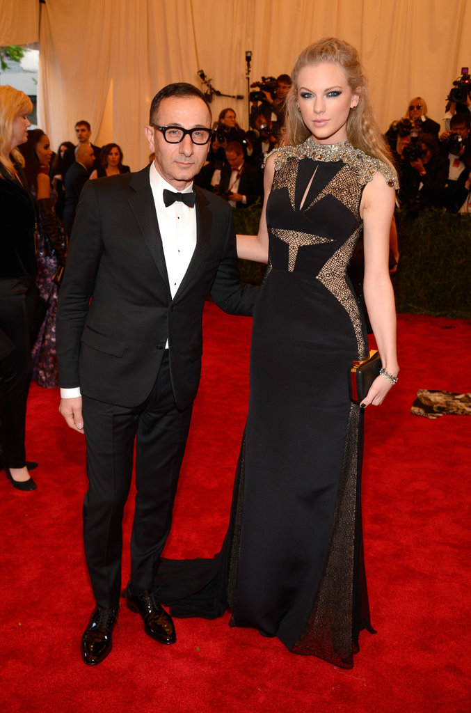 Gilles Mendel accompanied Taylor Swift, who was clad in Lorraine Schwartz jewels and an elegant J. Mendel gown with decadent beading at the neck.