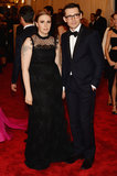 Lena Dunham went with a black Erdem gown with a polka-dot neckline while attending with the designer himself.